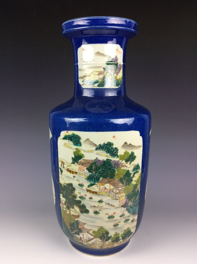 18th C Qing period, Chinese porcelain vase,  blue ground with panels, decorated with landscaping, marked
