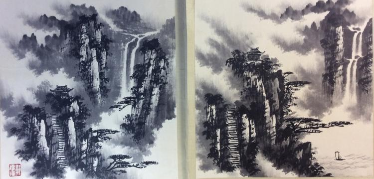 Chinese painting, hand painted leaves, 8 ndividual painting leaves,depicting landscaping with ink and water color on paper.
