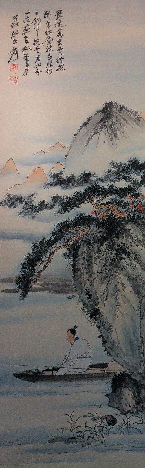 Chinese painting, hand painted,  Hanging scroll    Chinese painting, hand painted scroll, ink and colors on paper,