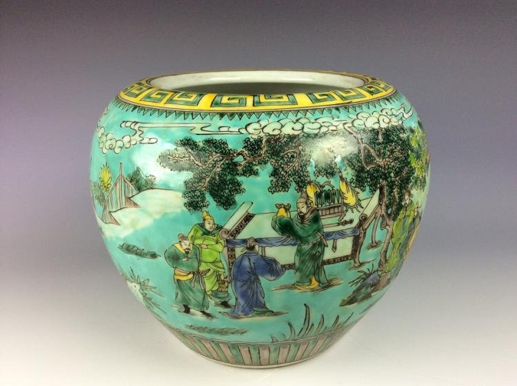 Fine Qing period Chinese porcelain jar, verti / wucai glazed, decorated & marked