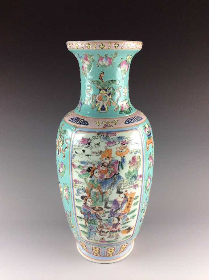 Vintage Chinese famille rose porcelain vase, marked
