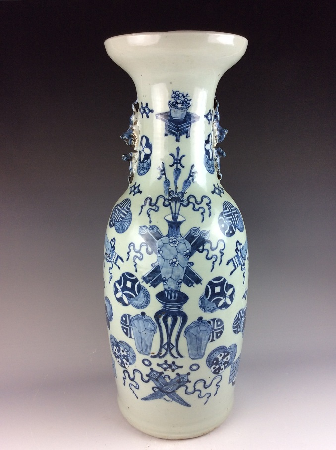 Chinese porcelain vase, blue & white glaze, on celadon ground,mark