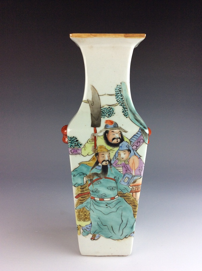 Chinese porcelain vase,  Famille rose glazed, decorated and marked