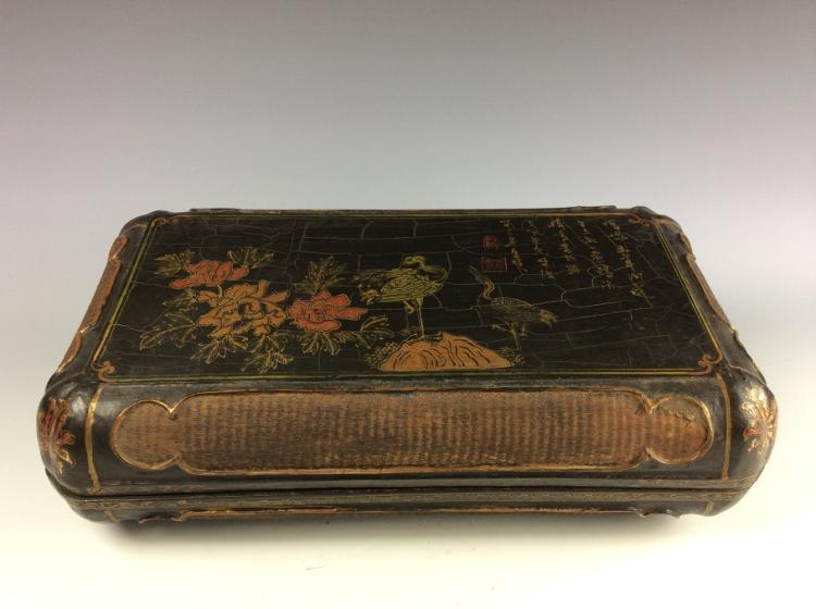 Vintage Chinese lacquer wood box,  decorated
