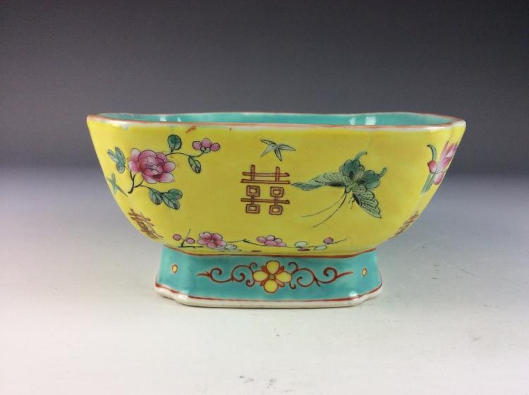 Chinese porcelain bowl, famille rose glazed, marked