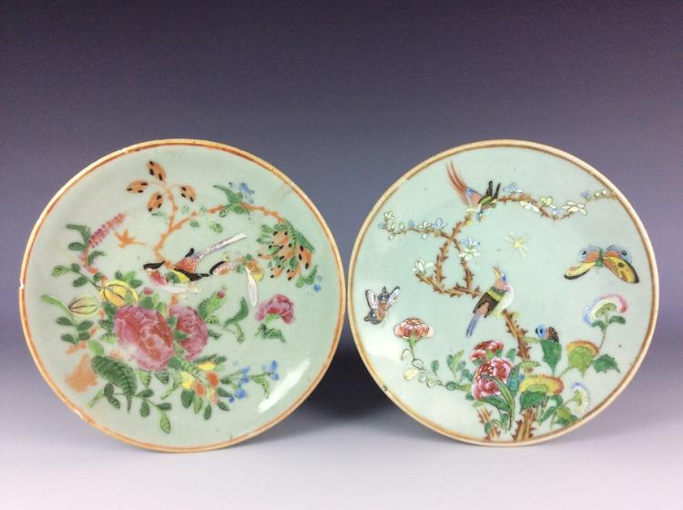 Pair of Chinese celandon porcelain plates painted with flower and bird.