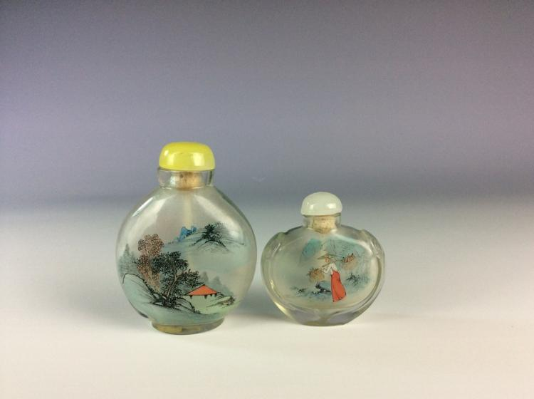 Two of Chinese glass snuff bottles, inside painting