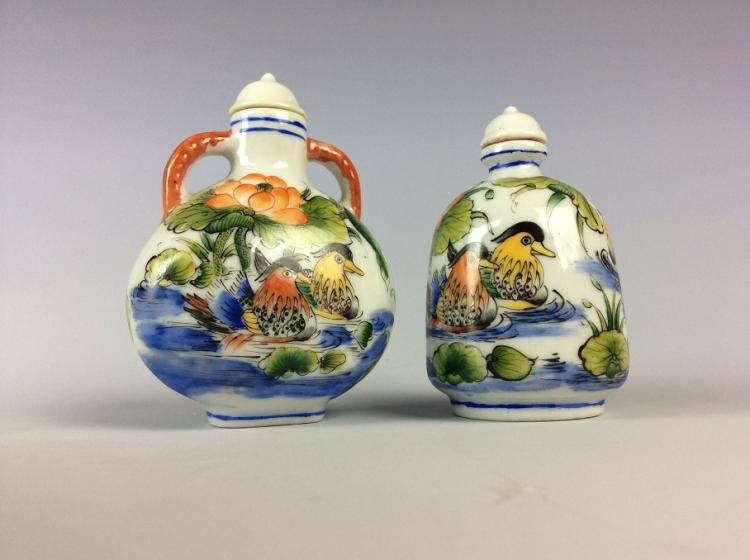 Pair of Chinese famille rose porcelain duck shape boxes