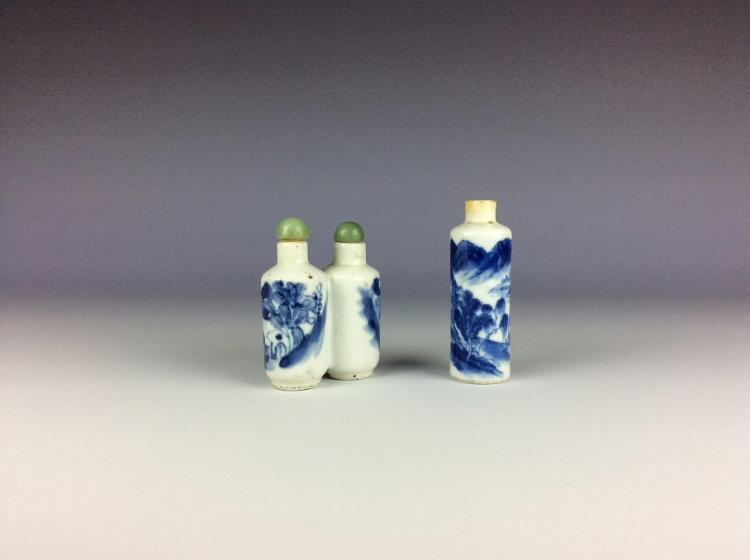 Pair of Chinese blue and white porcelain snuff bottles.