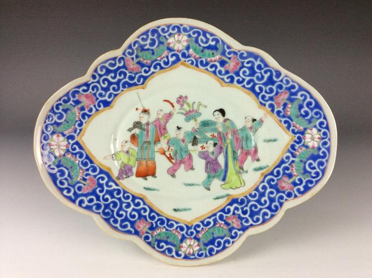 Vintage Chinese famille rose porcelain plate, marked