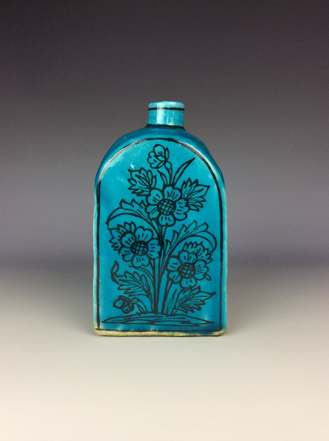Chinese malachite blue glazed trangle vase painted with flowers. <br/> Size & Condition: please see the last picture for detail