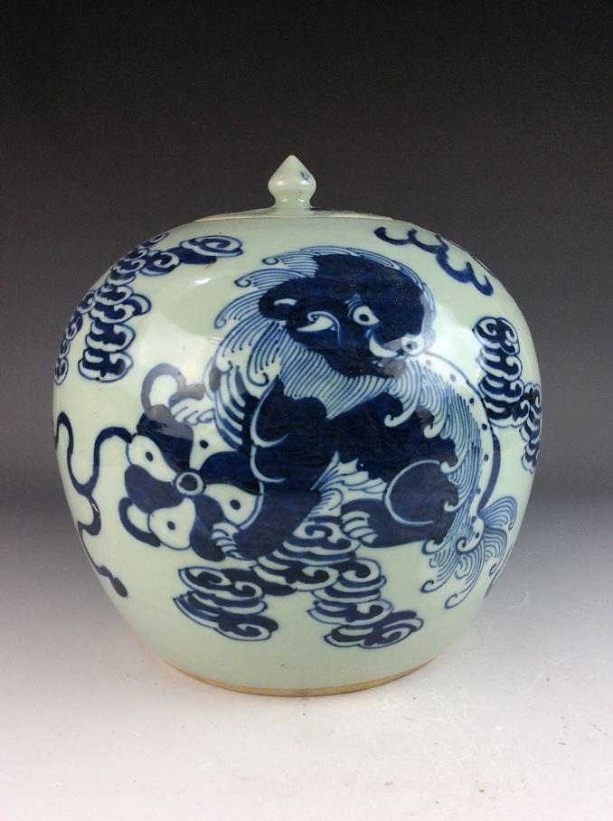 Chinese porcelain pot, blue & white on celedon glazed