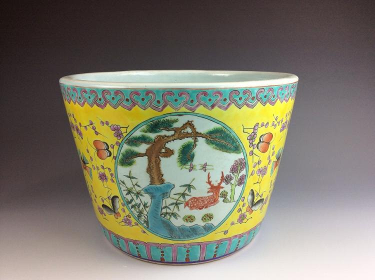 Chinese porcelain, yellow ground with famille rose glazed,  decorated