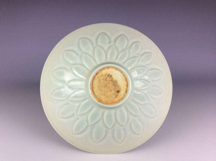 Chinese porcelain plate, white glazed, lotus share, decorated and marked