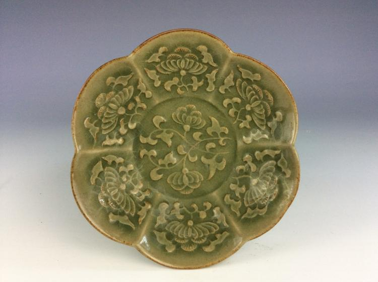 Yuan Longquan style, Chienese porcelain bowl, celadon with decoration