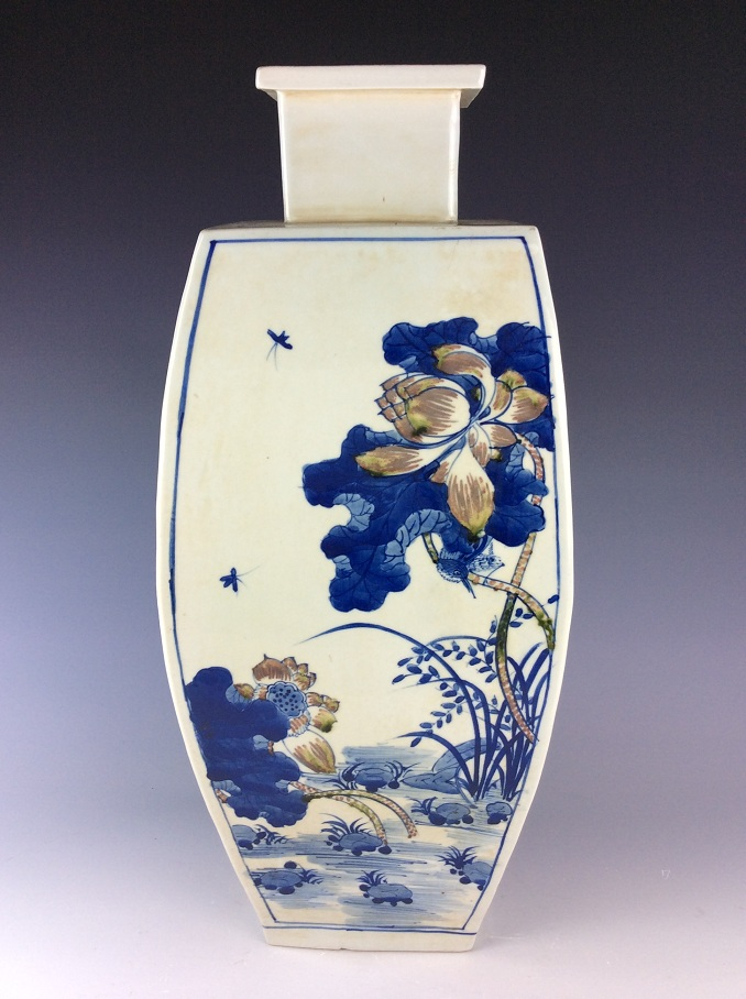 Vintage Chinese porcelain jar, blue & white with underglazed red glazed, marked
