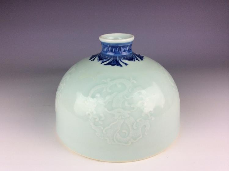 Chinese porcelain water pot,  celadon ground with blue & white, decorated with dragon
