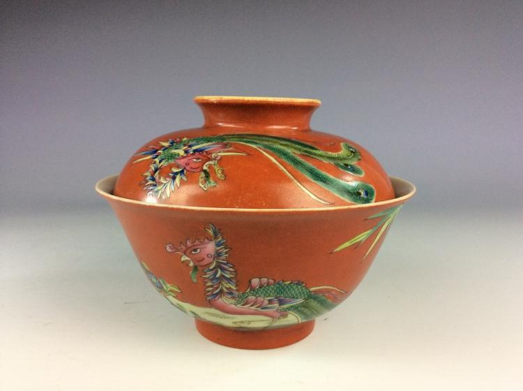 Fine 19th C Chinese enamel porcelain vase,  carot red glaze, decorated with phenoix