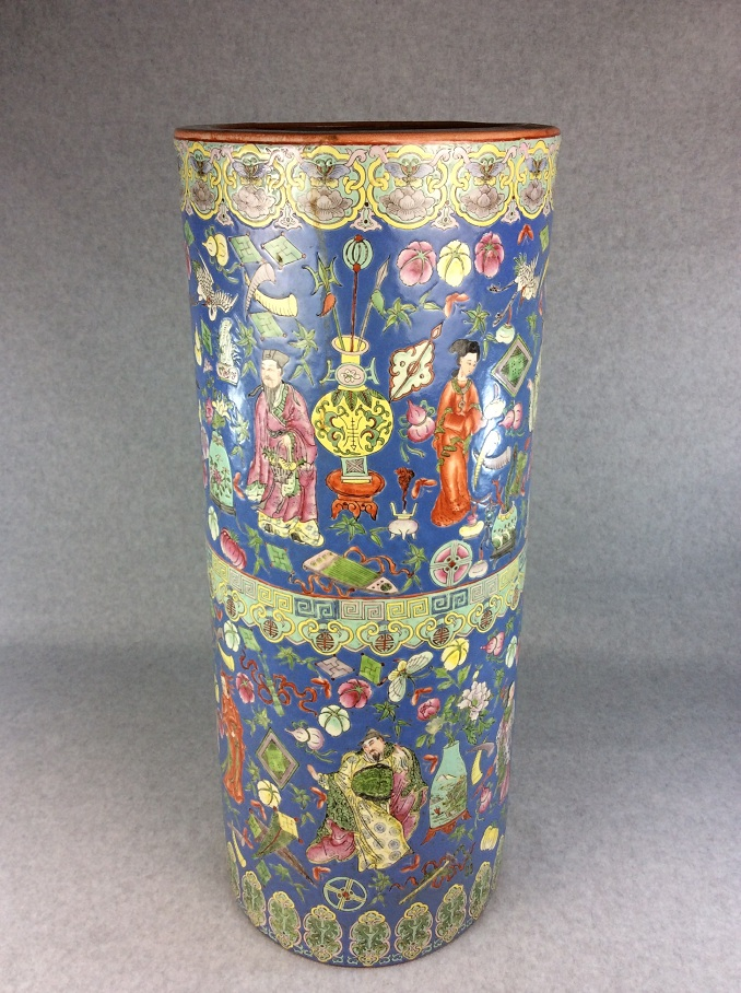 Chinese porcelain brush vessel, famille rose glaze