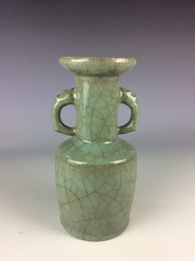 Fine  Chinese Longquan style porcelain vase, celadon  glazed