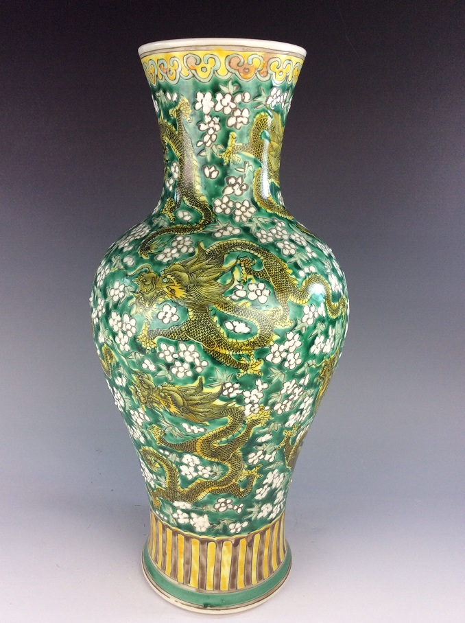 Large (2) vintage Chinese porcelain vase, verte, Sancai glazed, decorated& marked