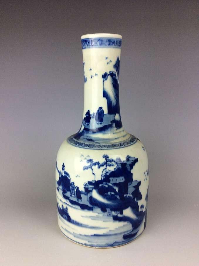 Chinese blue and white porcelain rouleau vase painted with landscaping and figures, double circular mark on base.