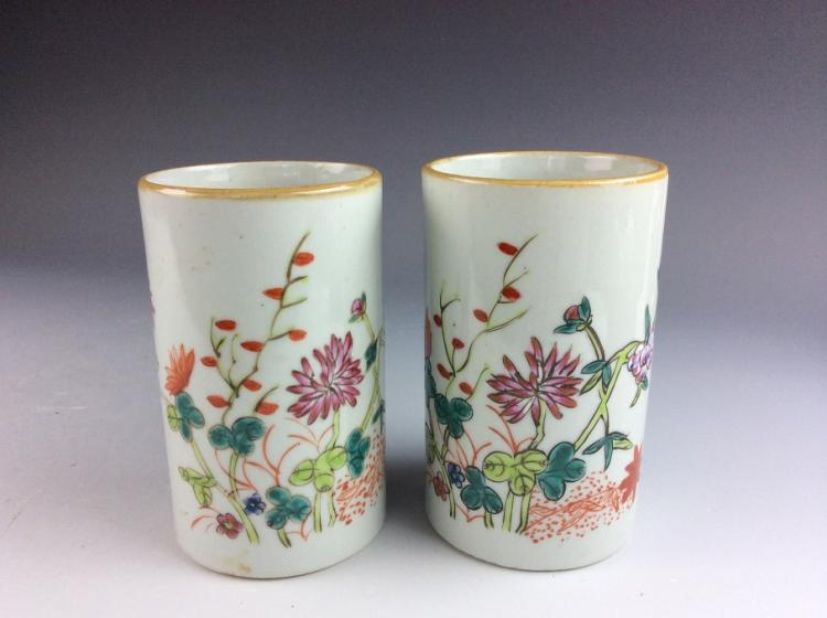 Pair of Chinese porcelain pot, famille rose glazed