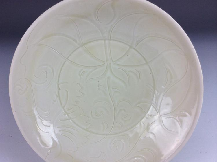 Chinese Song style porcelain dish, Ding style white glaze