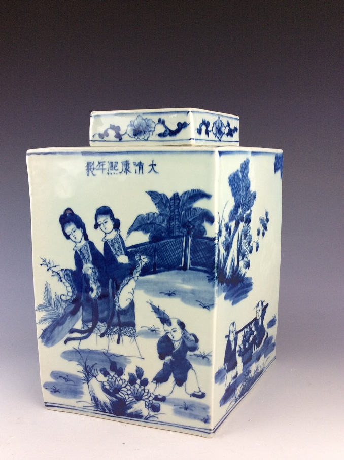 Chinese porcelain pot with lid, blue & white glazed, marked