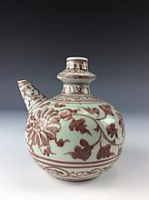 Rare Chinese export Kandi,  underglazed red,