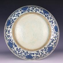 Rare Chinese porcelain plate, blue & white glaze, decorated & marked