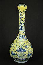 Chinese yellow glaze baluster vase with extra long neck
