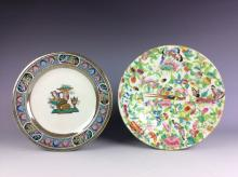 A set of two 20C Chinese porcelain plates, famille rose glazed, decorated