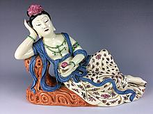 Chinese Famille rose porcelain quan yin figure,