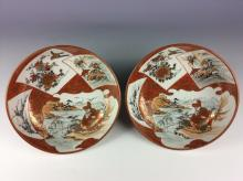Pair of Japanese porcelain plates with figure