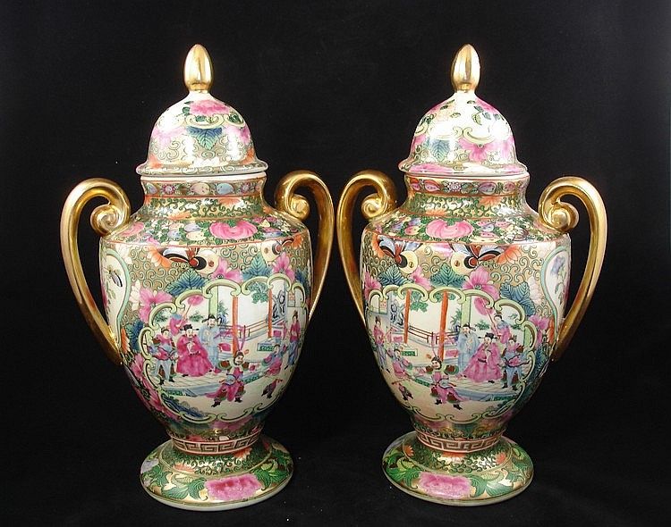 Pair of Chinese Export Famille Rose Porcelain Vases