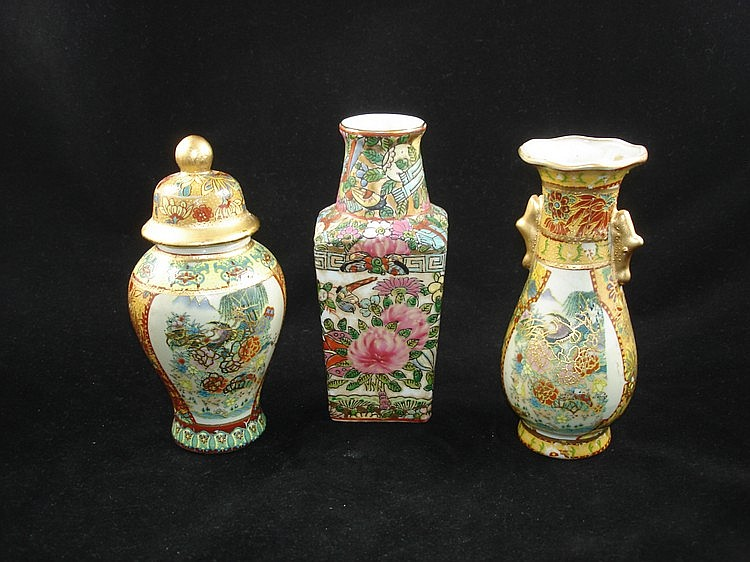 Set of Three Chinese Export Famille Rose Vase/Pot,