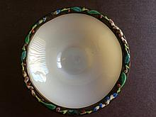 Chinese antique peking glass/enamel plate w/ china markon paper, mounted.