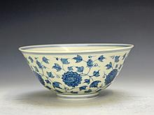 Fine Chinese blue and white floral porcelain bowl.