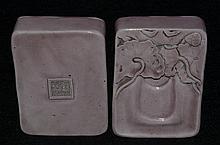 Fine Chinese purple glazed porcelain box, marked