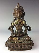Rare Chinese gilt-bronze buddha figure,   marked