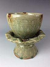 Chinese Longquan celadon cup and stand