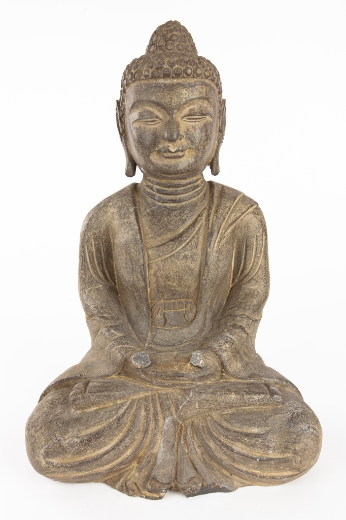 Antique Carved Stone Seated Buddha