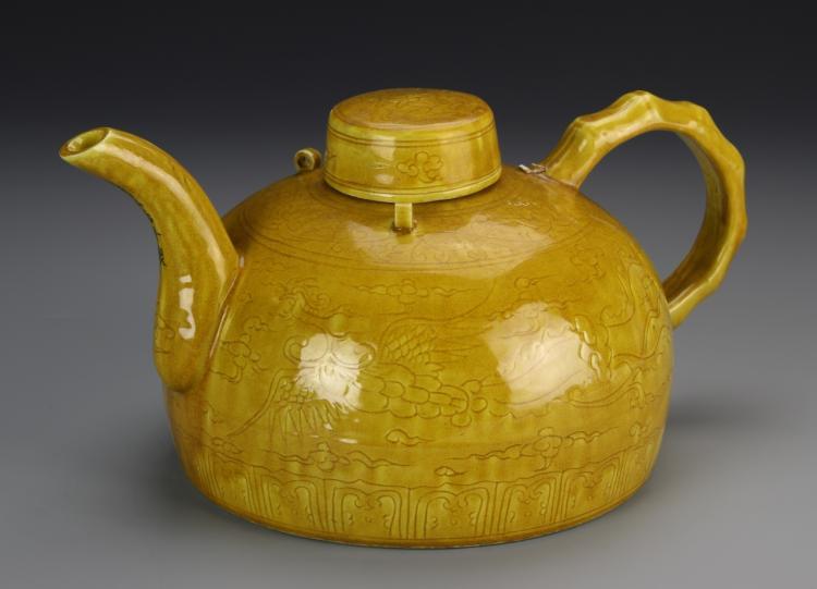 Chinese Yellow Glazed Teapot