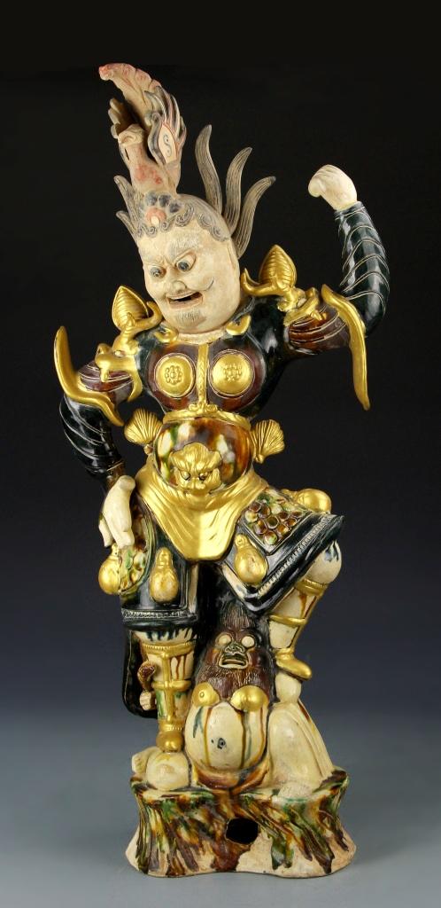 Chinese Sancai Statue of Tian Wang