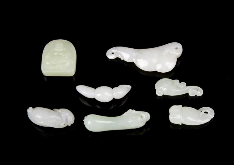 Chinese White Jade Pendants (7 pc.)