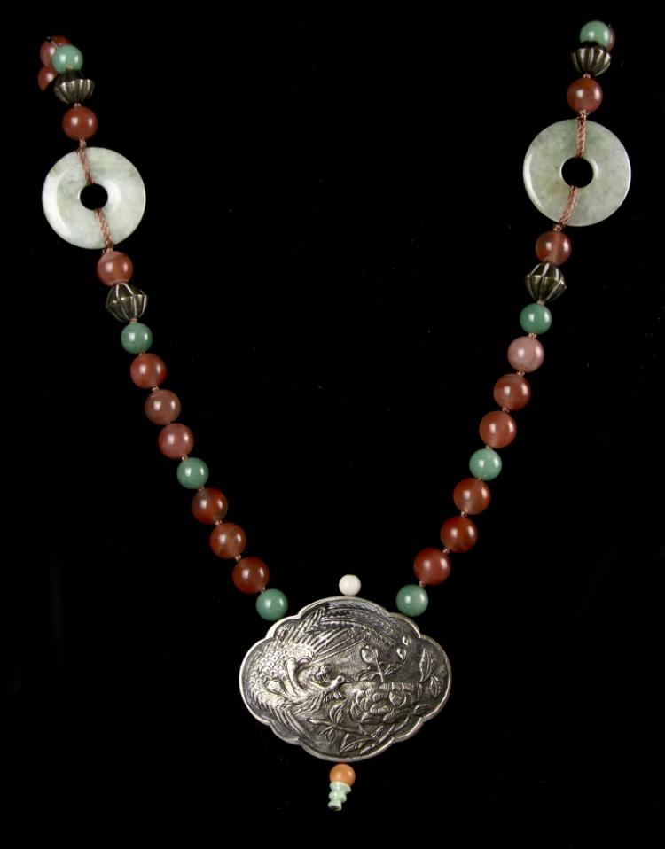 Chinese Silver Agate Jade Necklace