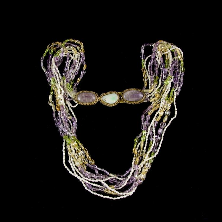 Chinese Amethyst Necklace with Antique Belt Hook