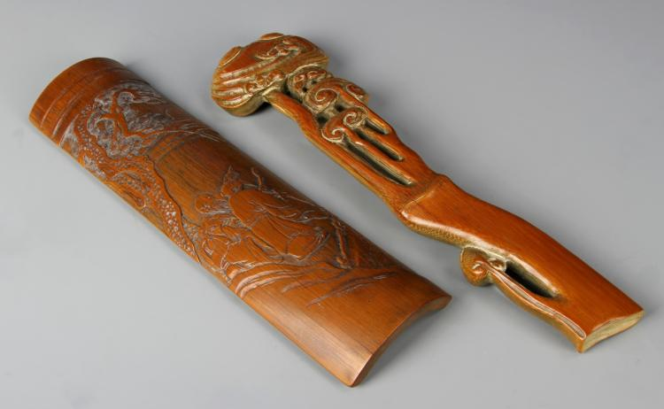 Chinese Ruyi Scepter and Wrist Rest