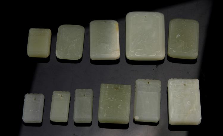 Chinese White Jade Pendants (11 pc.)